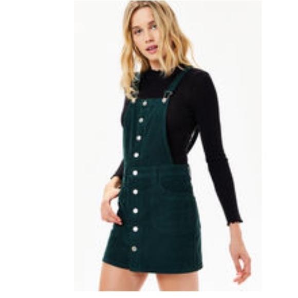 91c0037596 PacSun Dresses | Button Front Corduroy Coverall Emerald | Poshmark